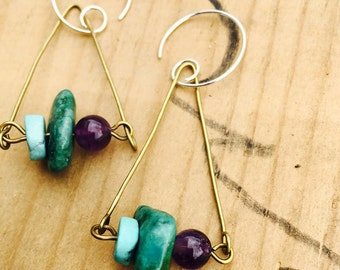 Turquoise amethyst triangle earrings