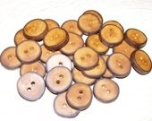 "30 Handmade apple wood Tree Branch Buttons with Bark, accessories (0,87'' diameter x 0,20"" thick)"