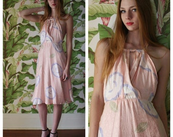 1980's Silk Open Back Dress / Ethereal Barely There Dress / Cotton Candy Pink Printed and Pressed Silk Flutter Dress / With a Bow on Top