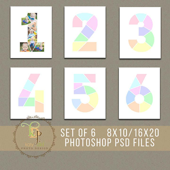 Set of 6 year birthday collage templates 8x10 16x20 for Photo collage number templates