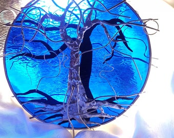 Tree of Life Silver and Copper Overlay Double Sided Suncatcher on Indigo Blue Textured Stained Glass OOAK