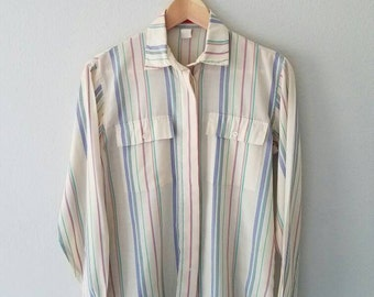 Vintage HALSTON III Striped Casual Button Up Shirt (s-m)