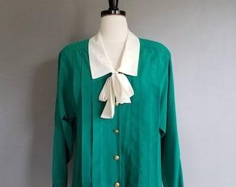 Vintage Jewel Green Ascot CHAUS Blouse 80s Shoulder Pads (m)