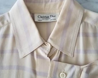 Vintage 80s DIOR Cream Lavender Stripe SILK Blouse (s-m)