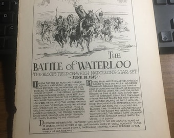 The Battle of Waterloo 1815. 1933 book page history print illustration . Art frameable history