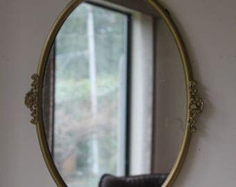 Vintage Gold Ornate Oval Wall Mirror, Brass, Antique Style
