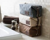 Groomsmen Gifts: Personalized Dopp Kit, Expandable, Toiletry Bag, Travel, Waxed Canvas - No. 345 (Made in the USA) FREE Domestic SHIPPING