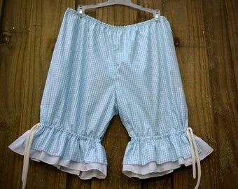Light blue gingham knee Length Womens Bloomers