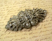 Art Deco Coro Duette Vintage Crystal Clear RHINESTONE Brooch Dress Clips