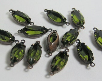 15x7 Olivine Swarovski Channel Cut Navette Mounted in Patina Brass Setting Quantity 12