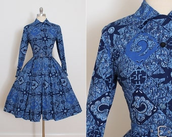 Vintage 50s Dress | vintage 1950s dress | blue mythical floral cotton dress | xs/s | 5732