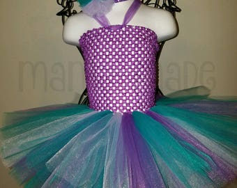 Purple, Teal and lavender Tutu Dress with matching hair accessory,tutu dress,mermaid tutu dress,birthday tutu,flower girl tutu,girls tutu