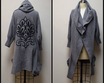 CASSIS Light Gray Cashmere Blend Hoodie Coatigan Sweater w Hand Applique Size S