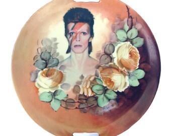 "David Bowie Portrait Plate - Altered Vintage Plate 10.25"""