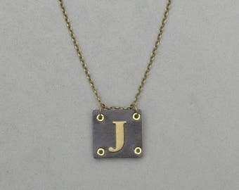 Square Leather J Necklace