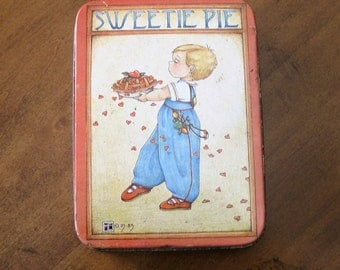 Vintage 1983 metal Sweetie Pie Tin.Collectable.Cute for Kitchen,Nursery or small storage tin.
