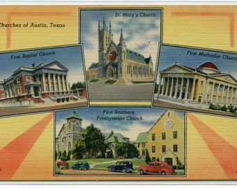 Churches of Austin First Baptist St Marys Methodist Southern Presbyterian Texas linen postcard