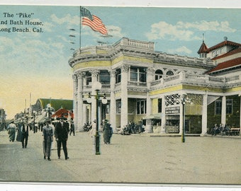 The Pike Midway & Bath House Long Beach California 1921 postcard