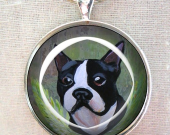 Boston Terrier Keychain ~ Dog Ornament ~ Pet Keepsake ~ June birthday  ~ Silver Tone ~Gifts for Him ~ Dog Painting