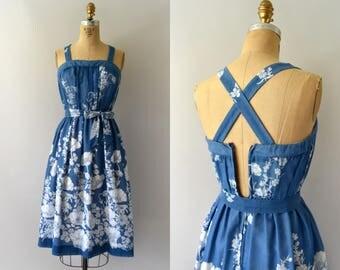 Vintage 1970s Sundress - 70s Blue Poppy Print Sundress
