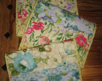"""Easter Shabby Chic Quilted Table Runner Pastel Floral Pink Purple Aqua Blue Yellow, 13x56"""", 100% cotton fabrics Reversible"""