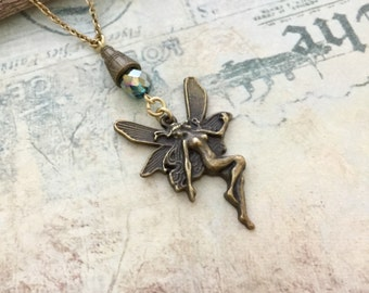 Fairy Necklace, Bronze Fairy, Bridesmaid Gift, Gift Ideas, Handmade Necklace