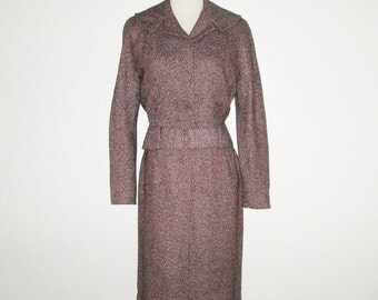 Vintage 1950s Suit / 50s Pink Flecked Suit / 50s Flecked Tweed Suit / 50s Flecked Wool Suit With Matching Belt - S