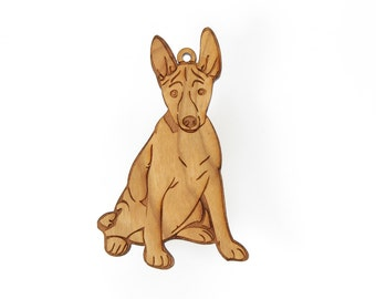 Basenji Dog Ornament from Timber Green Woods. Personalize with Name Engraving! Made in the U.S.A! - Cherry Wood