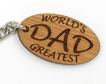 World's Greatest Dad Key Chain. Cool Father's Day Gift. Gifts Made in the USA by Timbergreen Woods. Keychain.