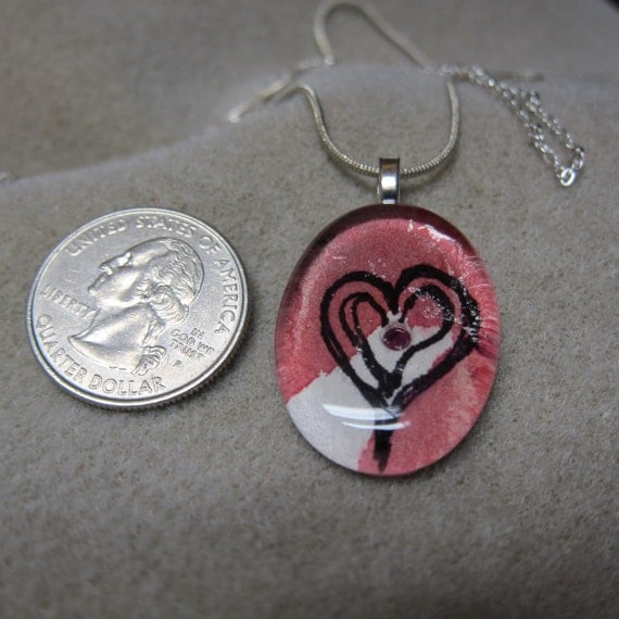 Genuine Ruby, Heart Pendant, Glass Tile Pendant, Oval, Watercolor, Heart, Red, Necklace, OOAK