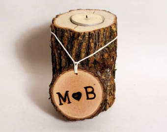 Rustic tree branch candle holder ~ Monogrammed Personal initial - Woodland Wedding decoration ~ Party Decoration ~ Holiday lighting