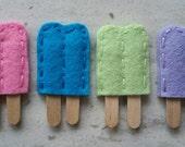4 Handmade Mini Felt Popsicle Appliques