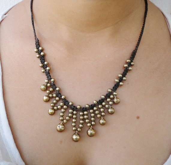 Jingle Brass Bells Beaded Wax Cotton Adjustable Pendant Choker Summer NECKLACE Thai Jewelry