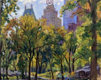 Original Oil Painting, Central Park in Autumn, NYC. Oil on Canvas, 12x12 New York City Impressionist Plein Air Fine Art Signed Original