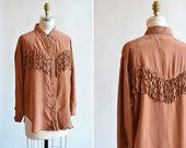 SALE / Vintage SILK fringe shirt