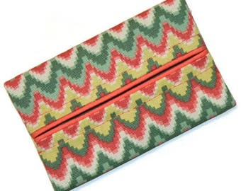 Travel Tissue Holder, Green, Yellow, Orange, Designer Tissue Holder, Travel Tissue Cozy, Pocket Tissue Holder