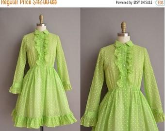 25% off SHOP SALE... 50s green polka dot vintage cotton dress / vintage 1950s dress