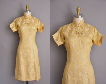 60s vintage dress. 1960s gold shimmery cheongsam vintage dress