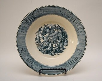 "Round 9"" Vegetable Serving Bowl in Currier & Ives Blue by Unknown Maker/ MAPLE SUGARING Underglaze print"