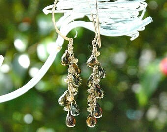 Gold Pyrite & Color-Change Garnet Dangle Earrings / 14k gold / Wire Wrapped / Boho / Olive Green / Gemstone / Gifts for Her / OOAK