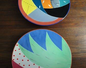 Susan Eslick Pottery Set of Two Art Pottery Plates 1980s