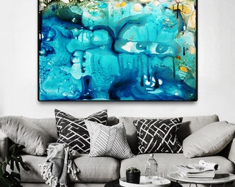 Aqua blue painting, Abstract print from Painting, Modern Painting, Large blue Print, Fine Art Print, Blue Abstract aqua teal print on canvas