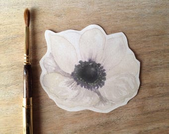 Anemone  Flower Prints -  Black and White - Place cards, wishing tree, wedding decoration, baby shower, escort cards