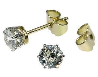 30% Off Winter Sale Diamond Yellow Gold Studs 1 carat Diamond Earrings Art Deco Jewelry