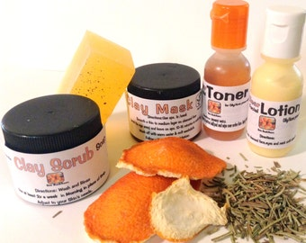 5 Piece Herbal Therapy TRIAL PACK~Oily/Acne Prone Skin types-Free Shipping