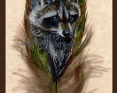 Raccoon Family Feather Print