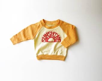 Organic Kids Sun Shine Raglan | Hand Made | Toddler Shirt | Unisex Kids Shirt | Screen Printed Sweater | Toddler Long Sleeve | Hipster Top
