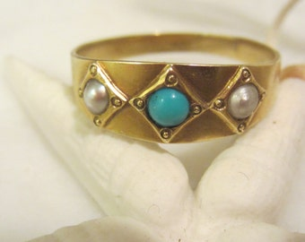 Antique 14K Gold, Natural Pearl and Turquoise Band Size 9