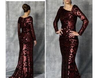 Vogue Dress Pattern V1475 by BADGLEY MISCHKA - Misses' Ruched Floor-Length Dress - Vogue American Designer