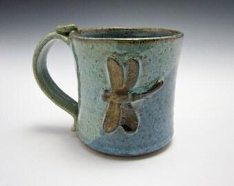 Large Ceramic Coffee Mug - Stoneware Mug - Gold Dragonfly - Blue Green - Pottery Mug - 14 oz ounces - Clay Mug - Water Theme - Coffee Cup